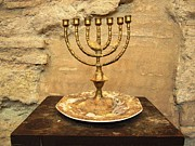 Spanish Synagogue Photos - Cordoba Menorah 14th Century Synagogue Jewish Quarter Spain by John A Shiron