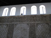 Spanish Synagogue Photos - Cordoba Synagogue Arched Windows Hebrew Wall Spain by John A Shiron