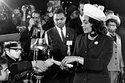 Political Statement Prints - Coretta Scott King Lights Candle Print by Everett