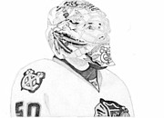 Goalie Drawings Posters - Corey Crawford Poster by Kiyana Smith