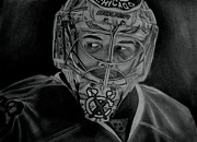 Chicago Black White Drawings Posters - Corey Crawford Poster by Melissa Goodrich