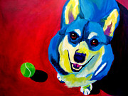 Corgi Dog Portrait Posters - Corgi - Play Ball Poster by Alicia VanNoy Call
