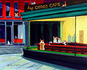 Pets Paintings - Corgi Cafe after Hopper by Lyn Cook