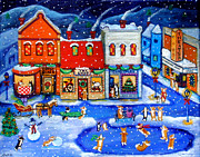 Skating Framed Prints - Corgi Christmas Town Framed Print by Lyn Cook