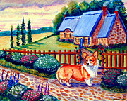 Cobblestone Painting Prints - Corgi Cottage Home Fires Print by Lyn Cook