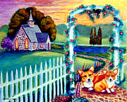 Cobblestone Painting Prints - Corgi Cottage Sunday Print by Lyn Cook