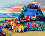 Country Cottage Prints - Corgi Cottage Sunrise Print by Lyn Cook