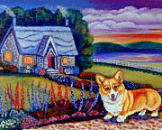Cobblestone Painting Prints - Corgi Cottage Sunset Print by Lyn Cook