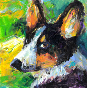 Dog Portrait Artist Drawings - Corgi Dog portrait by Svetlana Novikova