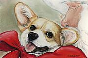 Santa Claus Paintings - Corgi for Christmas by Charlotte Yealey
