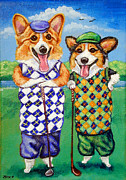 Pets Paintings - Corgi Golfers Pembroke Welsh Corgi by Lyn Cook