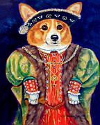 Corgi Dog Portrait Posters - Corgi King Poster by Lyn Cook