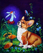 Magic Mushrooms Posters - Corgi Magic - Pembroke Welsh Corgi Poster by Lyn Cook