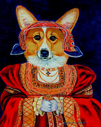 Puppies Framed Prints - Corgi Queen Framed Print by Lyn Cook