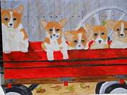 Wagonwheel Prints - Corgis Wagon Print by Joette Watson