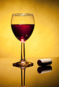Ripe Photo Originals - Cork and glass of stained wine by Jesus Cervantes