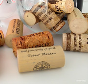 Merlot Photo Metal Prints - Corks Metal Print by Cheryl Young