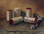 Wine Country Pastels Posters - Corks Poster by Ellen Minter