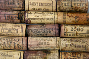 Labelled Pyrography Framed Prints - Corks of French wine Framed Print by Bernard Jaubert