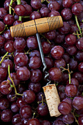 Food And Beverage Posters - Corkscrew and wine cork on red grapes Poster by Garry Gay