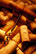 Corkscrew Metal Prints - Corkscrew and wine corks Metal Print by Garry Gay