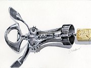 Wine Corkscrew Art Posters - Corkscrew Poster by Sheryl Heatherly Hawkins