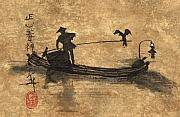 Waterscape Painting Metal Prints - Cormorant Fisherman on the Li River in China Metal Print by Linda Smith