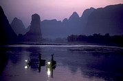 Fishers Posters - Cormorant Fishers Work The Li River Poster by Kenneth Ginn