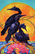 Cormorants Prints - Cormorants In Sunset Print by Peggy Wilson
