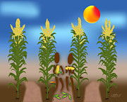 Grow Digital Art - Corn by Linda Seacord