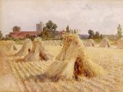 Fall Scenes Paintings - Corn Stooks by Bray Church by Heywood Hardy
