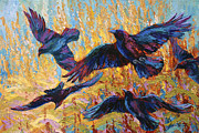 Crows Paintings - Corn Tag by Marion Rose