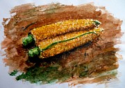 Corn Paintings - Corn by Zaira Dzhaubaeva