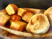 Wooden Bowl Prints - Cornbread and Rolls Print by Susan Savad