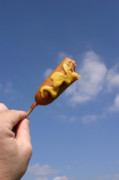 Dog Prints Photos - Corndog in the sky with mustard by Michael Ledray