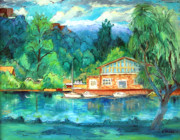 Finger Painting Prints - Cornell Boathouse Print by Ethel Vrana