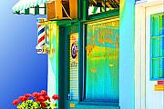 Business Digital Art Framed Prints - Corner Barber Shop Framed Print by Noel Zia Lee