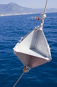 Fog At Sea Prints - Corner-cube Radar Reflector On A Boat. Print by Mark Williamson
