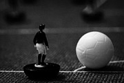 Game Piece Metal Prints - Corner Kick Football Soccer Scene Reinacted With Subbuteo Table Top Football Players Game Metal Print by Joe Fox