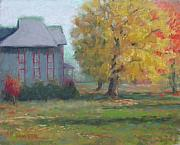 Autumn Foliage Pastels Prints - Corner of 6th and D Print by Julie Mayser
