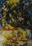 Calm Waters Posters - Corner of a Pond with Waterlilies Poster by Claude Monet