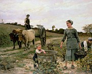 Family  On Canvas Paintings - Corner of a Vineyard by Edouard Debat Ponsan