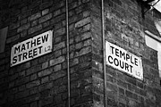 Mathew Posters - Corner Of Mathew Street And Temple Court In Liverpool City Centre Birthplace Of The Beatles  Poster by Joe Fox