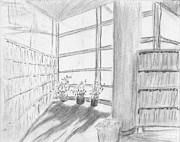 Library Drawings - Corner of the library by Horacio Prada