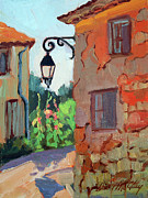 Wineries Paintings - Corner Street St. Colombe by Diane McClary
