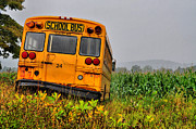 Country Scenes Prints - Cornfield Bus Print by Emily Stauring