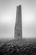 Monochrome Art - Cornish mine chimney by John Farnan