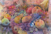 Grape Painting Prints - Cornucopia Of Fruit Print by Arline Wagner