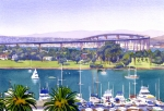 Palm Tree Paintings - Coronado Bay Bridge by Mary Helmreich