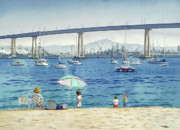 Piers Painting Framed Prints - Coronado Beach and Navy Ships Framed Print by Mary Helmreich